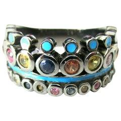 Designer Matthew Campbell Laurenza Blue Enamel Gem Sterling Silver Crown Ring