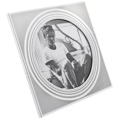 Designer MB Italy Modernist Frosted Silver Aluminum Picture Photo Frame