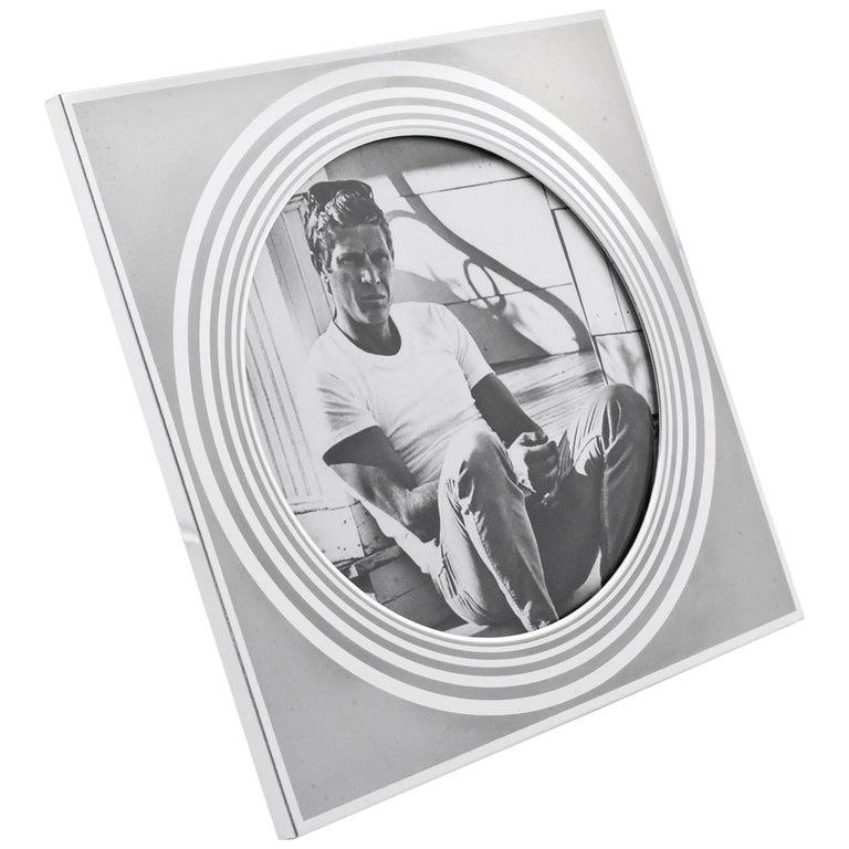 Designer MB Italy Modernist Frosted Silver Aluminum Picture Photo Frame For Sale