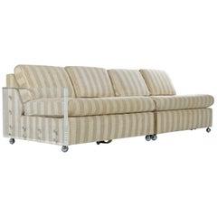 Designer Midcentury 2-Piece Cubist Modern Lucite Acrylic Loveseat Sofa Sleeper
