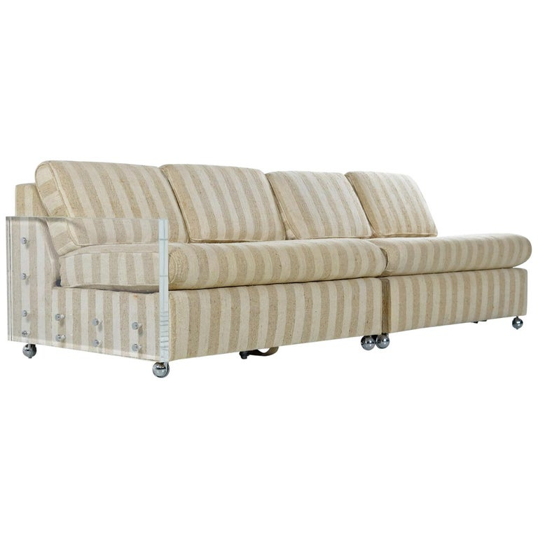 Designer Midcentury 2-Piece Cubist Modern Lucite Acrylic Loveseat Sofa Sleeper For Sale