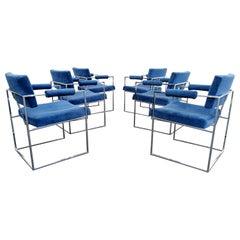 Designer Milo Baughman Mod. 1188 Chrome Dining Armchairs set of 6