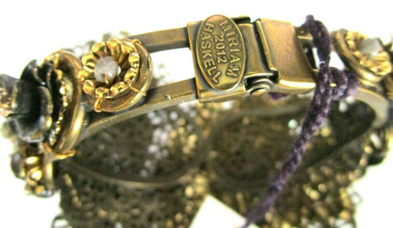 Contemporary Designer Miriam Haskell Rhinestone Elaborate Flower Clamper Bracelet For Sale