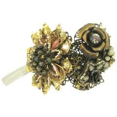 Designer Miriam Haskell Rhinestone Elaborate Flower Clamper Bracelet