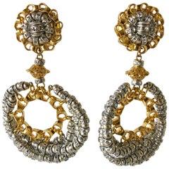 Designer Mix Metal Diamanté Architectural Statement Earrings