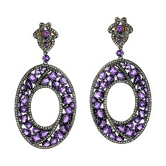 Designer Mosaic Style Amethyst and Diamond Dangle Earring in Silver and Gold