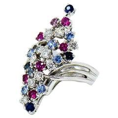 Designer Multi-Gem and Diamond Large Cluster Ring