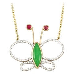 Designer Natural Jadeite, Ruby and Diamond Butterfly Necklace