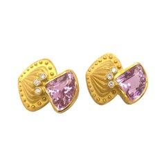 Designer Nerso 18k Gold Diamonds Kunzite Earrings 38 Grams
