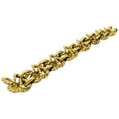 Designer Nicolis Cola Italian 18 Karat Gold Braided Fashion Statement Bracelet