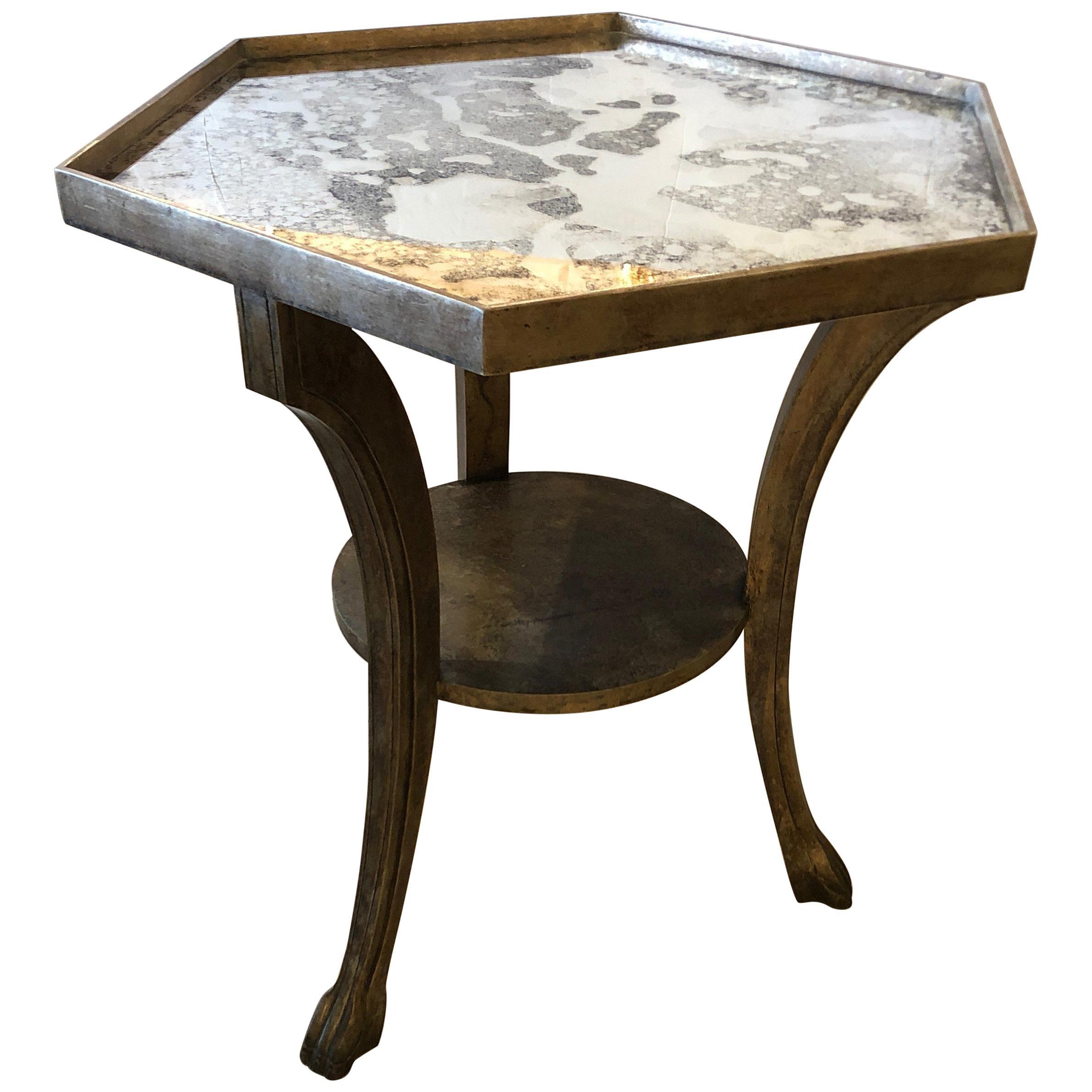 Designer Niermann Weeks Hexagonal Silvergilt Mirrored Side End Or Center Table