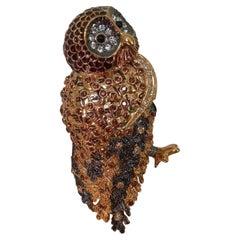 Designer Nolan Miller Signed Enamel and Sparkling Crystal Owl Brooch Pin