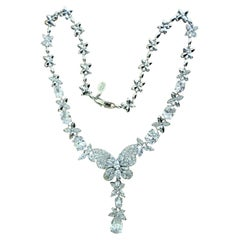Designer Nolan Miller Signed Faux Diamond Crystal Butterfly Necklace