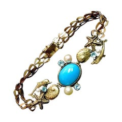 Designer Original 14K Gold Bracelet with Persian Turquoise Aquamarines & Pearls