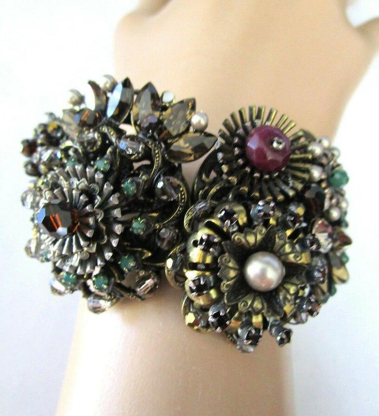 Modernist Designer Ornate Encrusted Flowers Clamper Bracelet by Miriam Haskell  For Sale