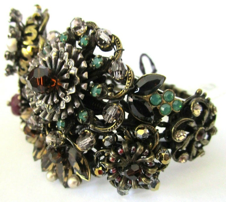 Designer Ornate Encrusted Flowers Clamper Bracelet by Miriam Haskell  In New Condition For Sale In Montreal, QC