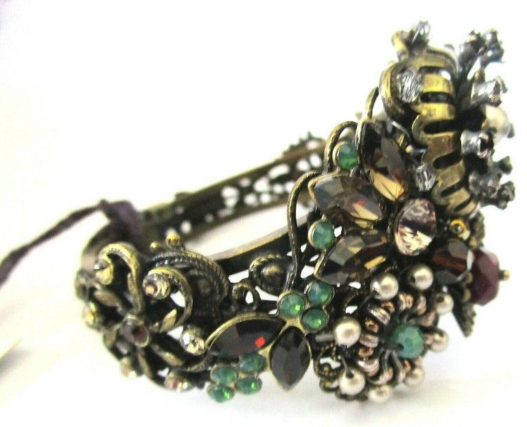Women's Designer Ornate Encrusted Flowers Clamper Bracelet by Miriam Haskell  For Sale