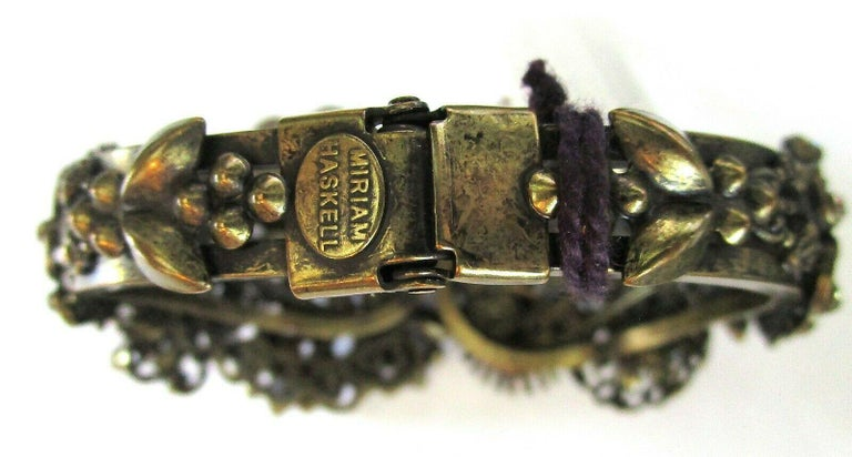 Designer Ornate Encrusted Flowers Clamper Bracelet by Miriam Haskell  For Sale 1