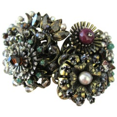 Designer Ornate Encrusted Flowers Clamper Bracelet by Miriam Haskell