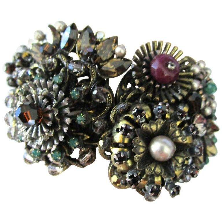 Designer Ornate Encrusted Flowers Clamper Bracelet by Miriam Haskell  For Sale