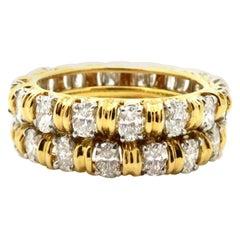 Designer Oscar Heyman 4.00 Carat Oval Diamond Double Eternity Band Ring