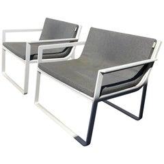 Designer Outdoor Furniture, Pair of White Modern Armchairs by Gandia Blasco