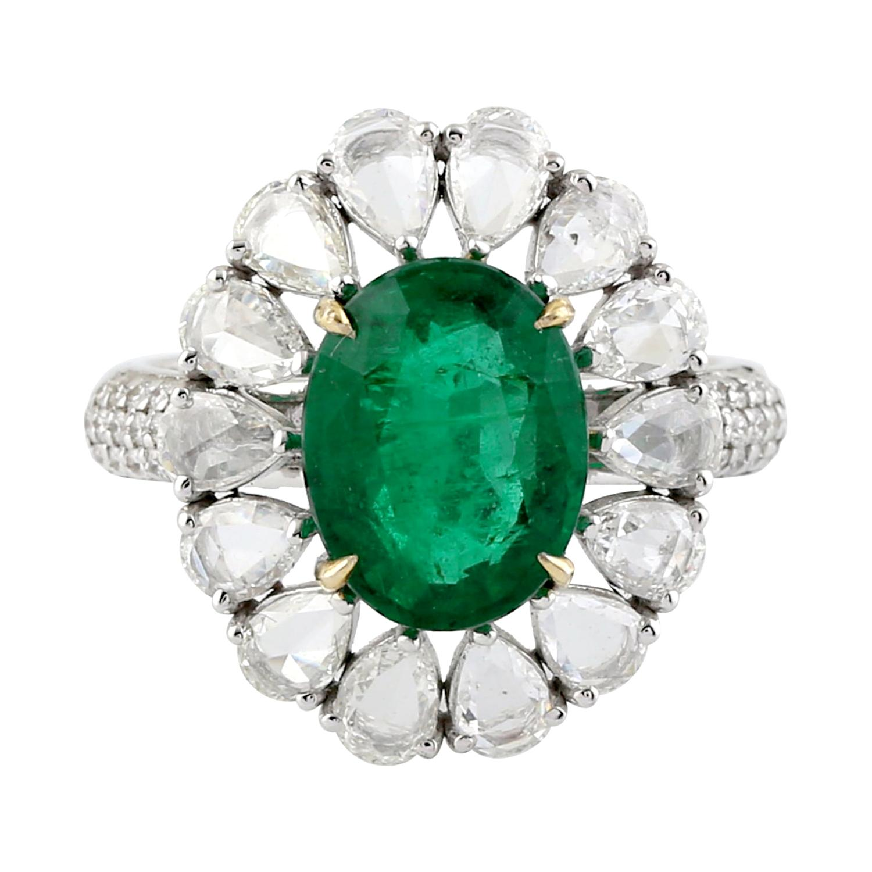 Designer Oval Shape Zambian Emerald Ring with Pear Shape Diamonds in 18K Gold