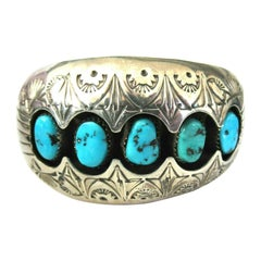 Designer P BENALLY Native American Navajo Turquoise Silver 925 Cuff Bracelet