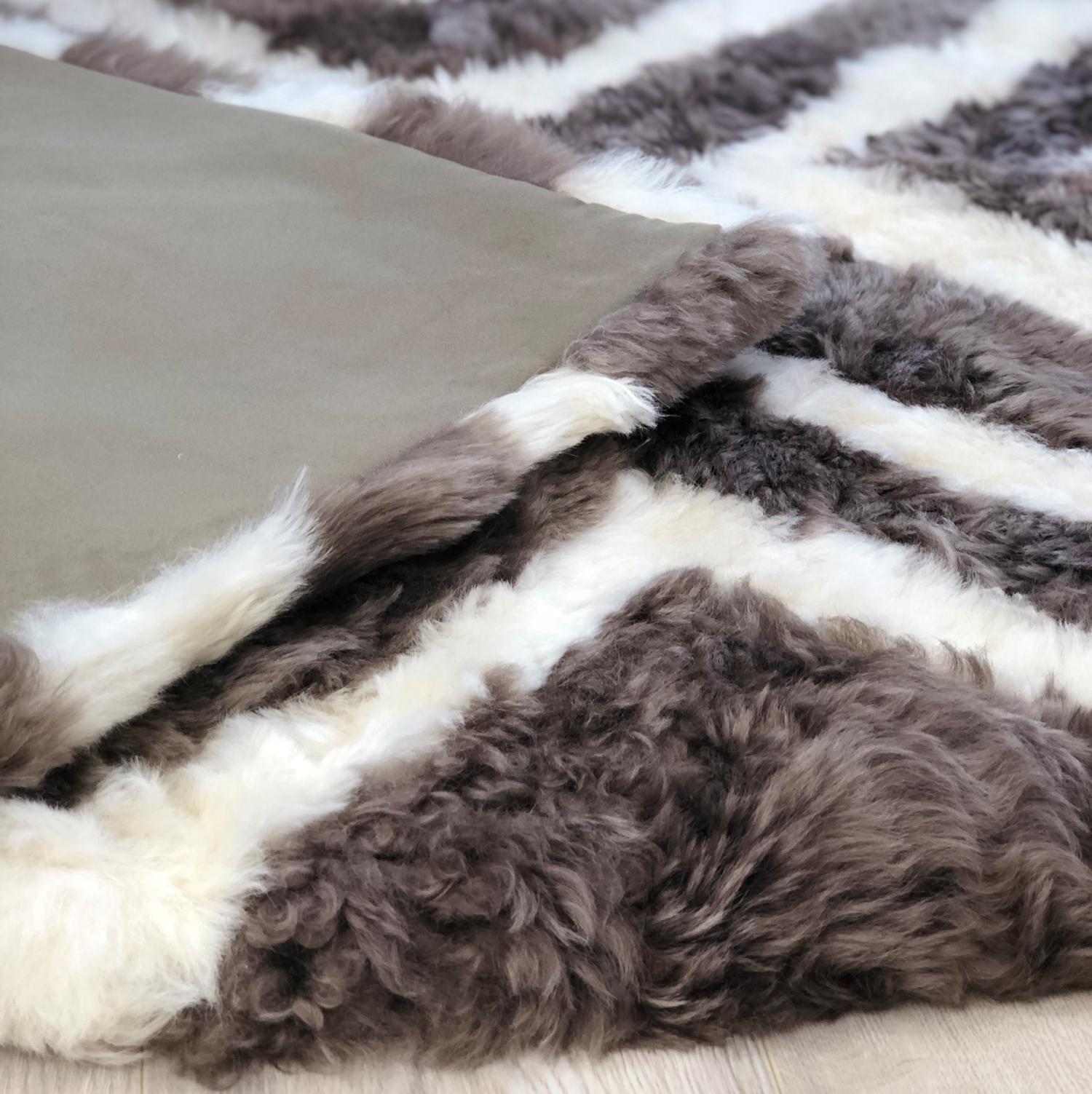 Designer Patchwork Sheepskin Area Rug