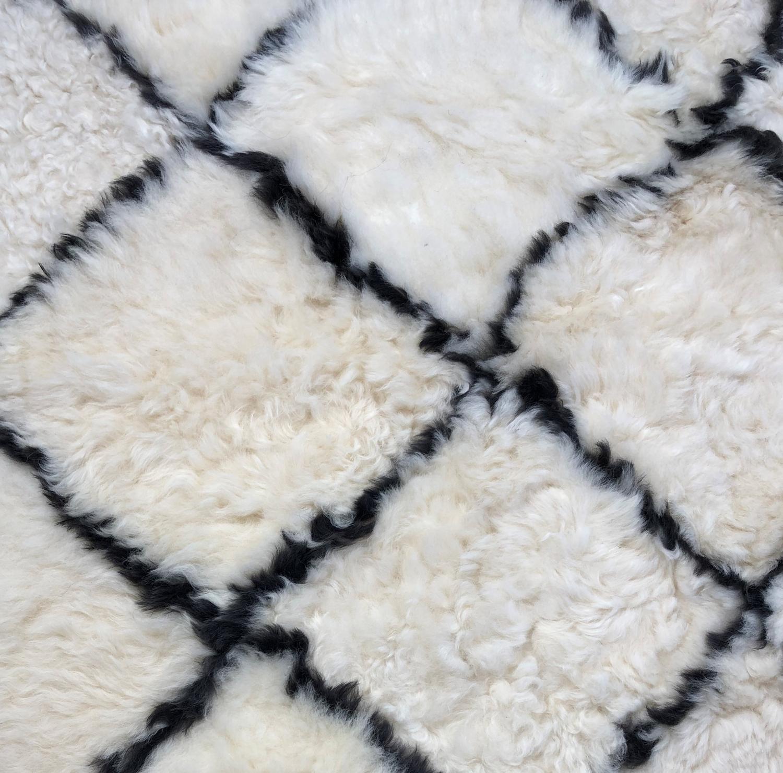 Sheepskin Rug Bohemian Diamond Pattern