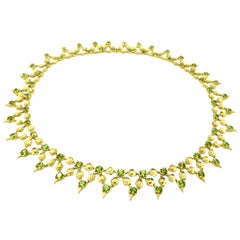Designer Paul Morelli Peridot 18 Karat Yellow Gold Flower Necklace