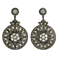 Designer Pave and Rosecut and Diamond Dangling Earring in Silver and 14K Gold