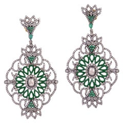 Designer Pave Diamond and Emerald Earring with Green Enamel