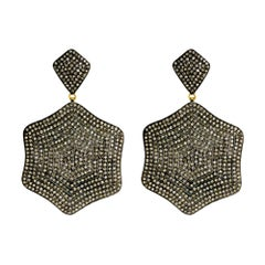 Designer Pave Diamond Earring in Silver and Gold