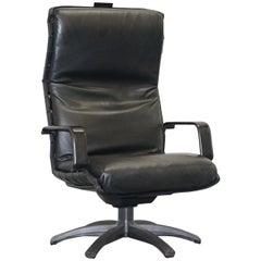 Designer Poltrona Frau Antropovarius Office Captains Black Leather Armchair