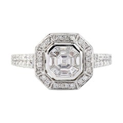 Designer Princess Set Diamond Ring in 18k White Gold
