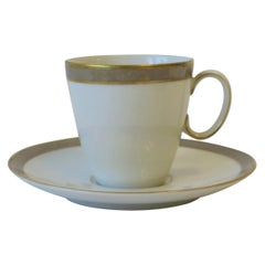 Designer Raymond Loewy White Grey Gold Espresso Coffee or Tea Cup