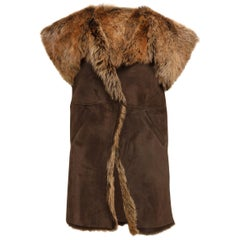 Designer Revival Brown Shearling Long Vest