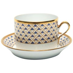 Designer Richard Ginori Italian Coffee or Tea Cup and Saucer in Blue and Gold