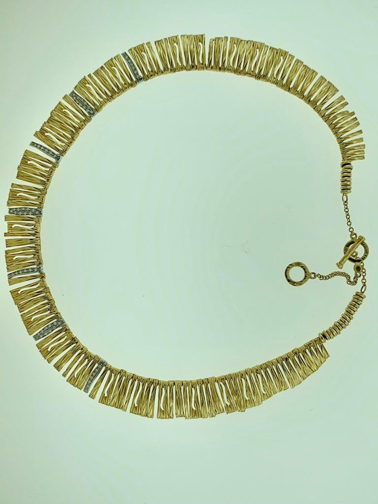 Designer Roberto Coin Diamond Elephant Skin Necklace, 18 Karat Gold 53 Grams In Excellent Condition For Sale In New York, NY