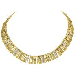 Designer Roberto Coin Diamond Elephant Skin Necklace, 18 Karat Gold 53 Grams