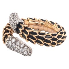 Designer Roberto Coin Diamond Enamel Snake Scale Gold Ring Estate Fine Jewelry