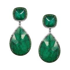 Designer Rock Crystal Green Garnet White Gold Statement Fashion Drop Earrings