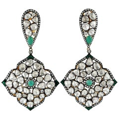 Designer Rose Cut Diamond Earring with Emeralds