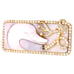 Designer Shell Cameo Ring with Diamonds 18k Gold