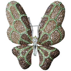 Designer Signed CARLO ZINI Large Butterfly Sparkling Crystal Brooch Pin Italy
