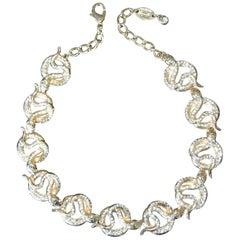 Designer Signed Carlo Zini Sparkling Crystal Serpent Snake Link Necklace