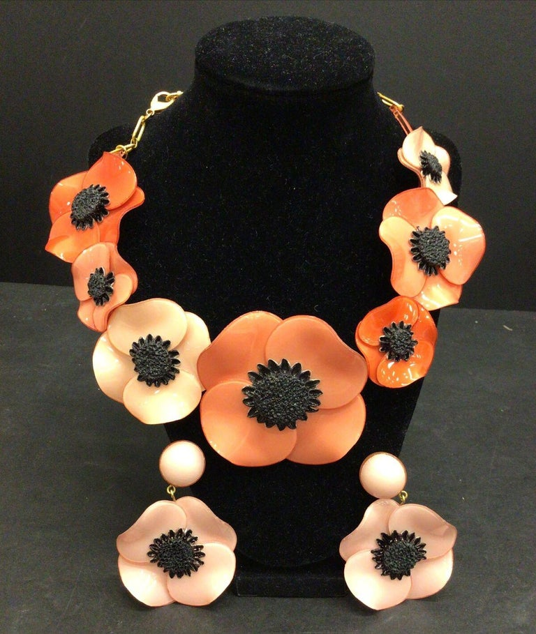 Designer Signed Ciléa Paris Pink Poppy Flower Necklace and Clip Earrings France For Sale 1