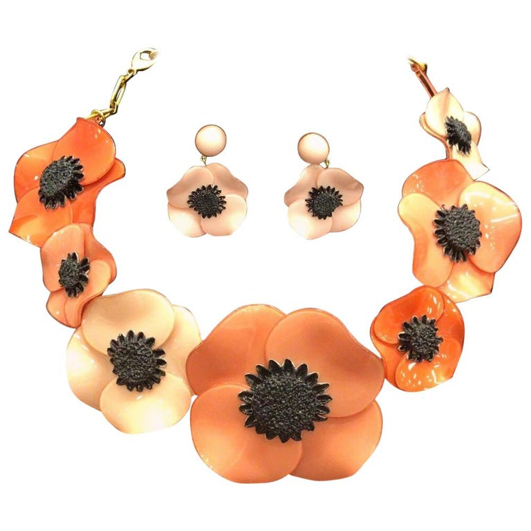 Designer Signed Ciléa Paris Pink Poppy Flower Necklace and Clip Earrings France For Sale