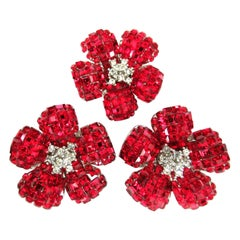 Designer Signed Foxey Boutique Sparkling Red Crystal Flower Brooch and Earrings